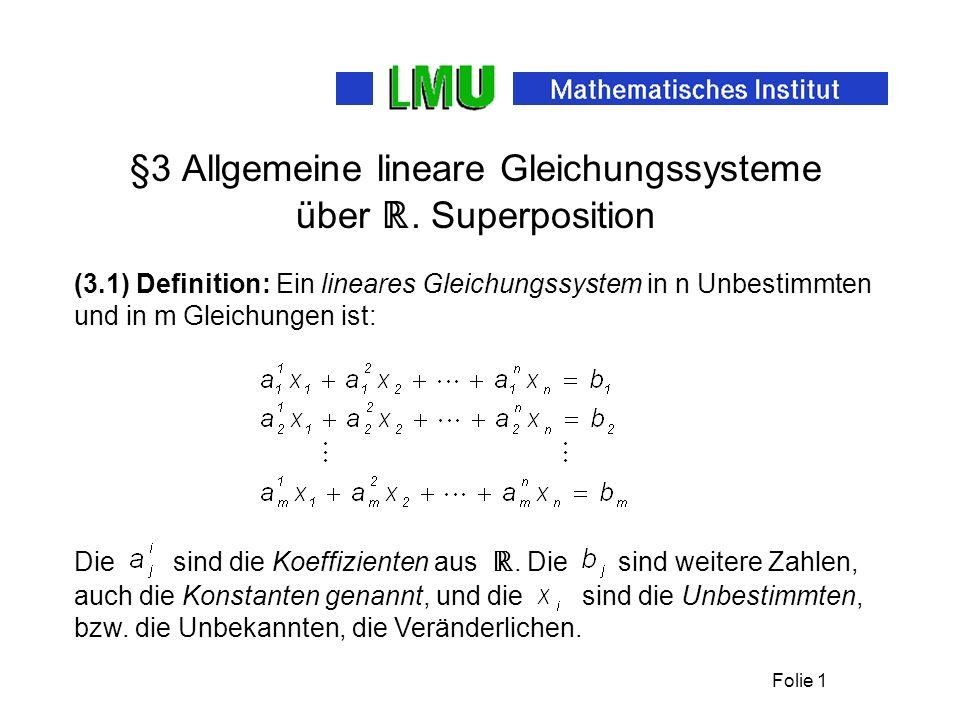 §3 Allgemeine lineare Gleichungssysteme