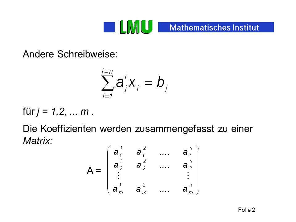 Andere Schreibweise: für j = 1,2, ... m . Die Koeffizienten werden zusammengefasst zu einer Matrix: