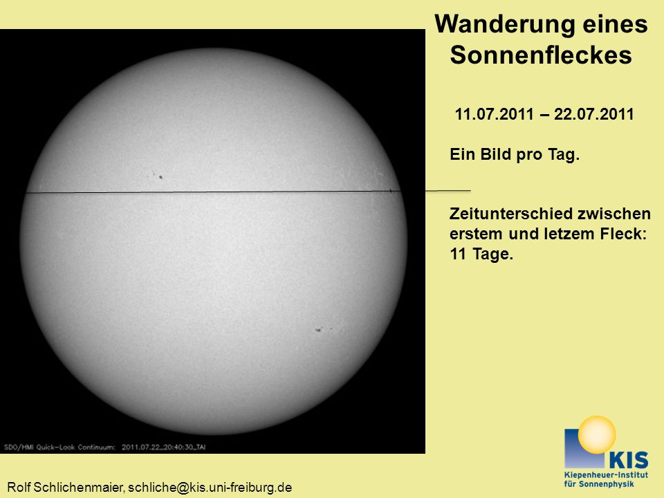 Wanderung eines Sonnenfleckes