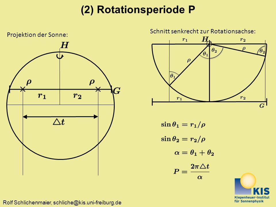 (2) Rotationsperiode P Schnitt senkrecht zur Rotationsachse: