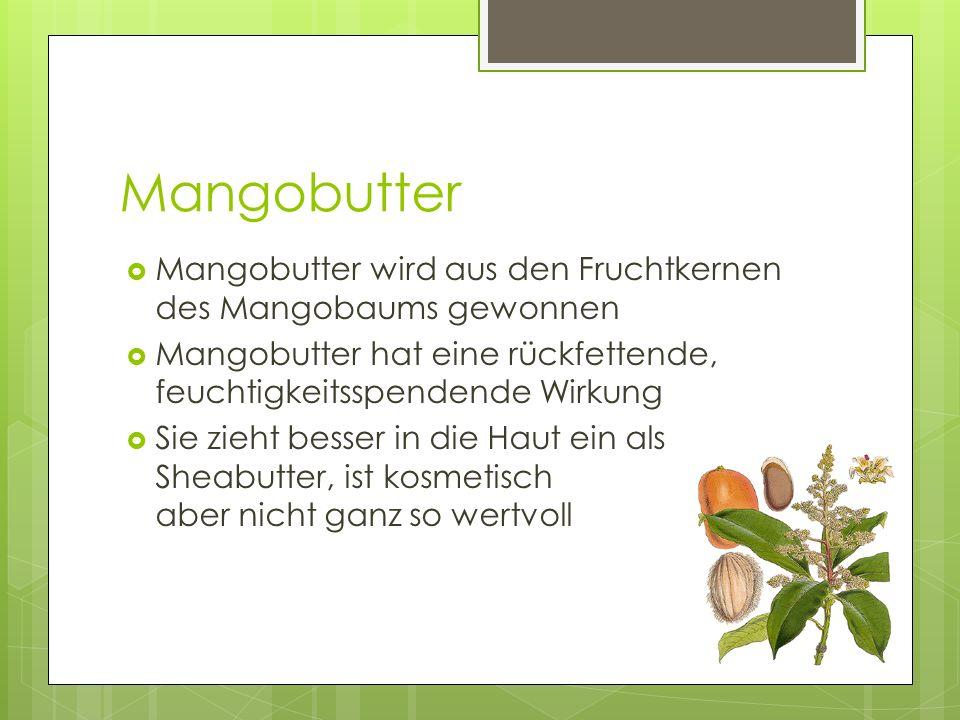 Mangobutter Mangobutter wird aus den Fruchtkernen des Mangobaums gewonnen. Mangobutter hat eine rückfettende, feuchtigkeitsspendende Wirkung.