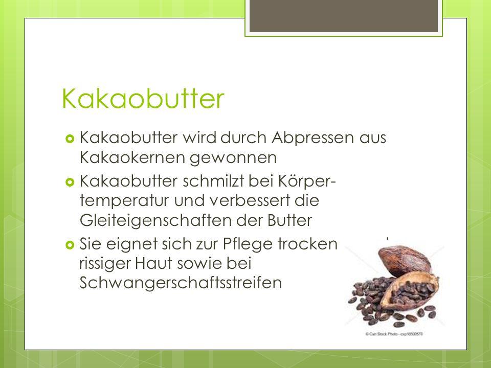 Kakaobutter Kakaobutter wird durch Abpressen aus Kakaokernen gewonnen