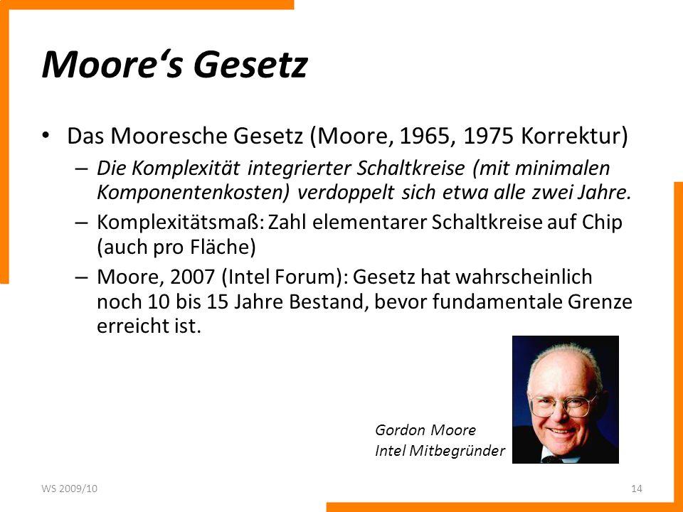 Moore's Gesetz Das Mooresche Gesetz (Moore, 1965, 1975 Korrektur)