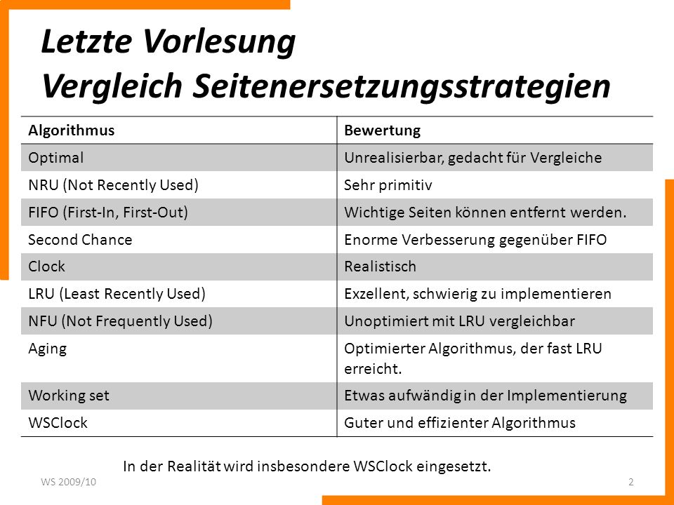 Letzte Vorlesung Vergleich Seitenersetzungsstrategien