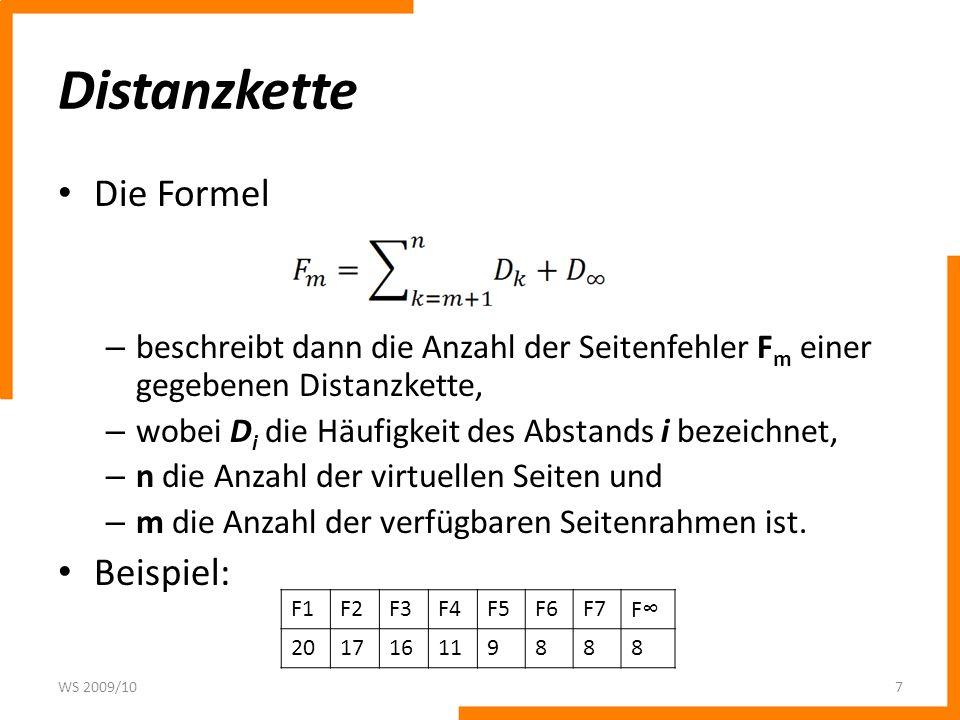 Distanzkette Die Formel Beispiel: