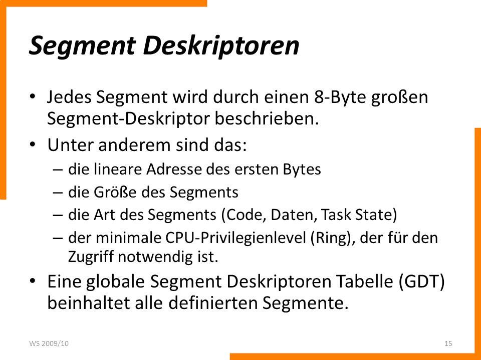 Segment DeskriptorenJedes Segment wird durch einen 8-Byte großen Segment-Deskriptor beschrieben. Unter anderem sind das: