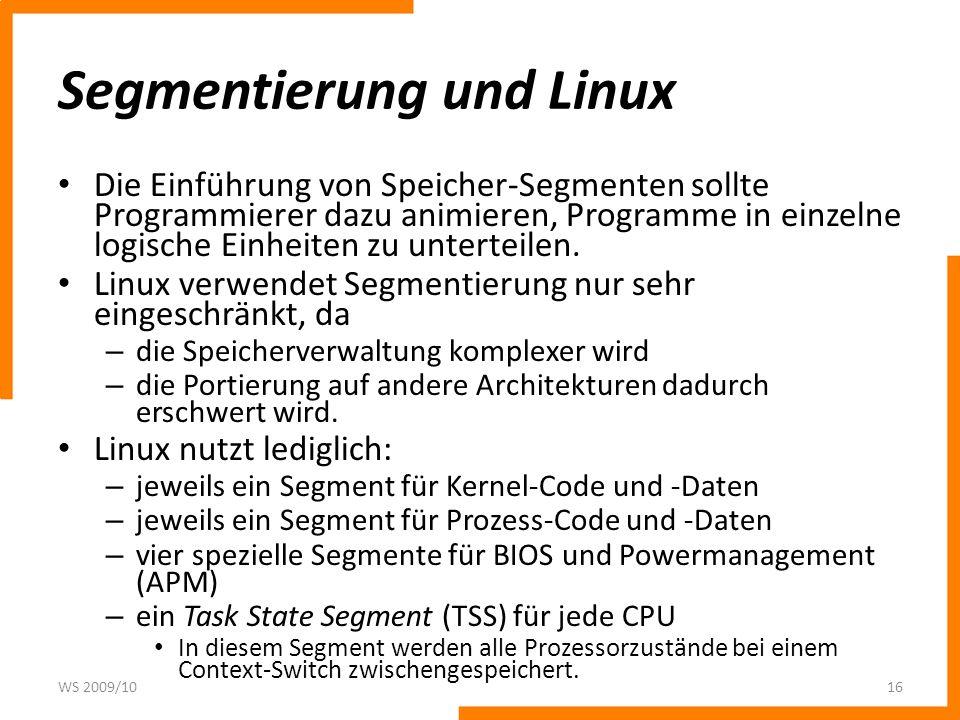Segmentierung und Linux