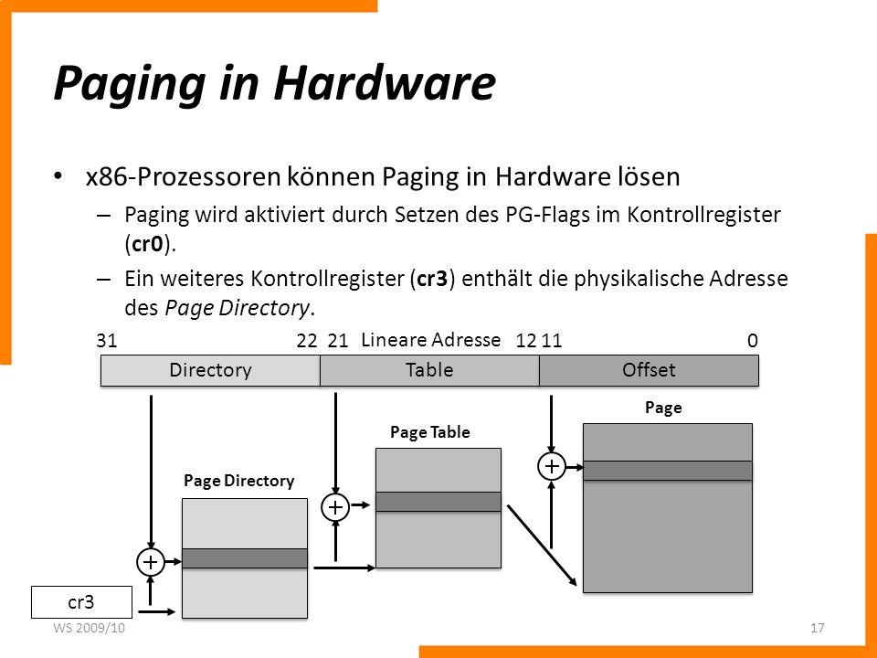 Paging in Hardware x86-Prozessoren können Paging in Hardware lösen