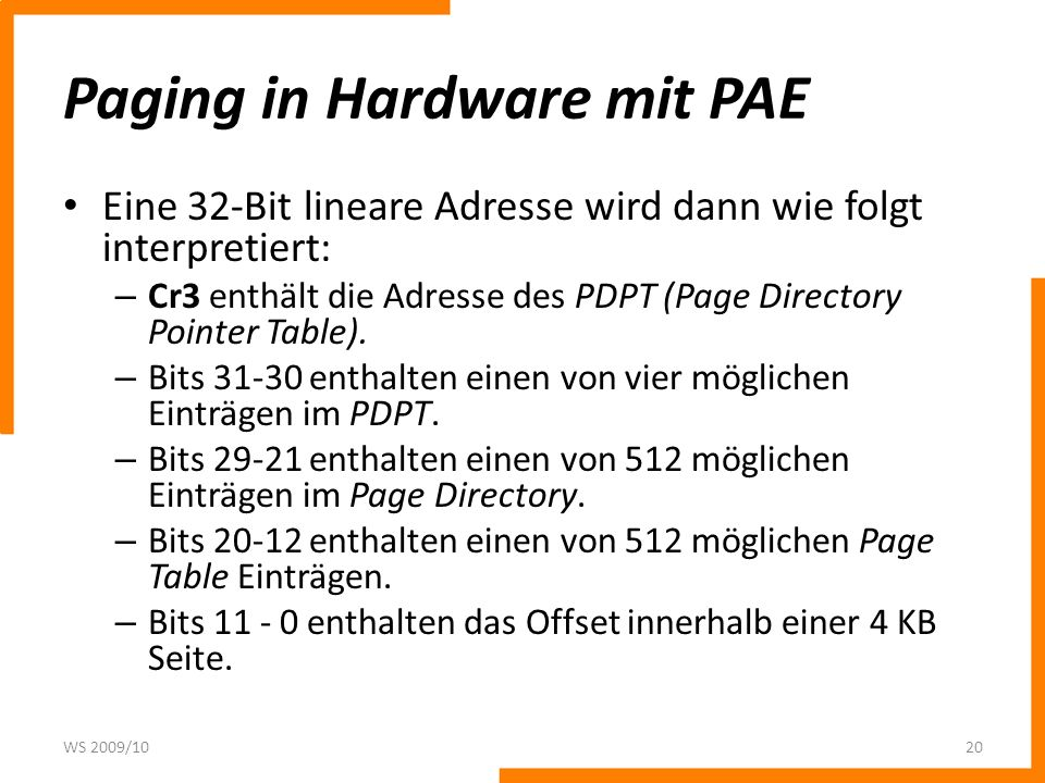 Paging in Hardware mit PAE