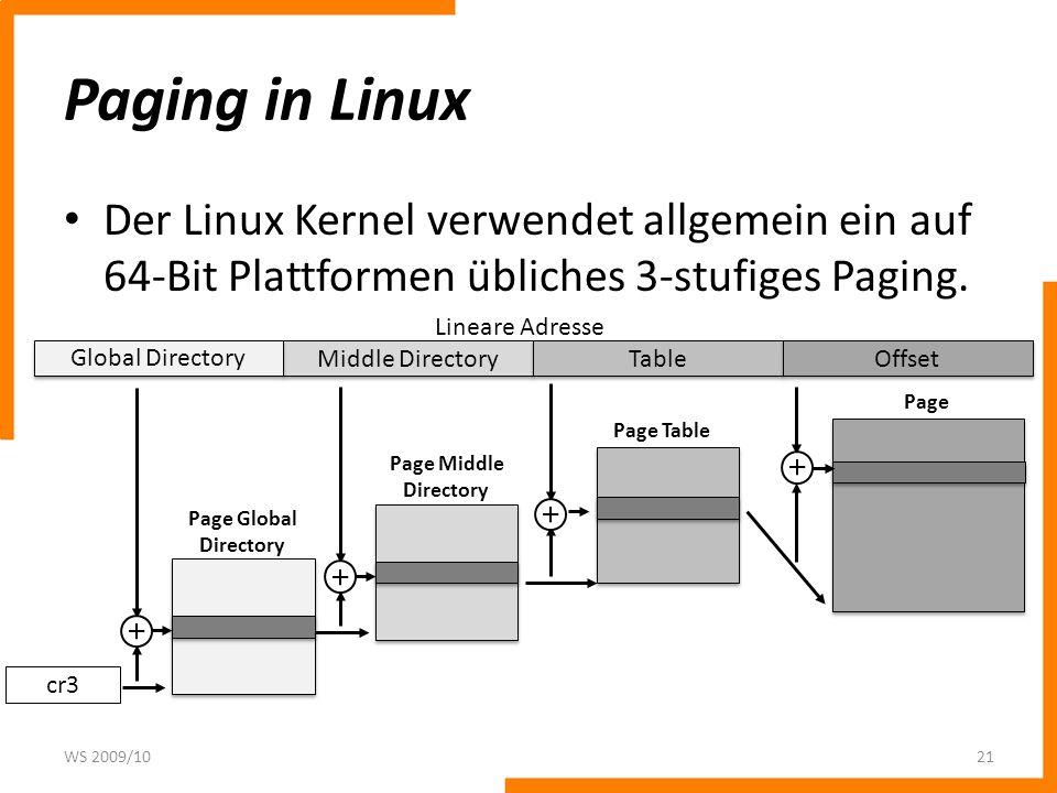 Paging in Linux Der Linux Kernel verwendet allgemein ein auf 64-Bit Plattformen übliches 3-stufiges Paging.