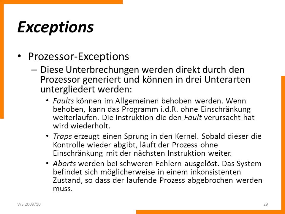 Exceptions Prozessor-Exceptions
