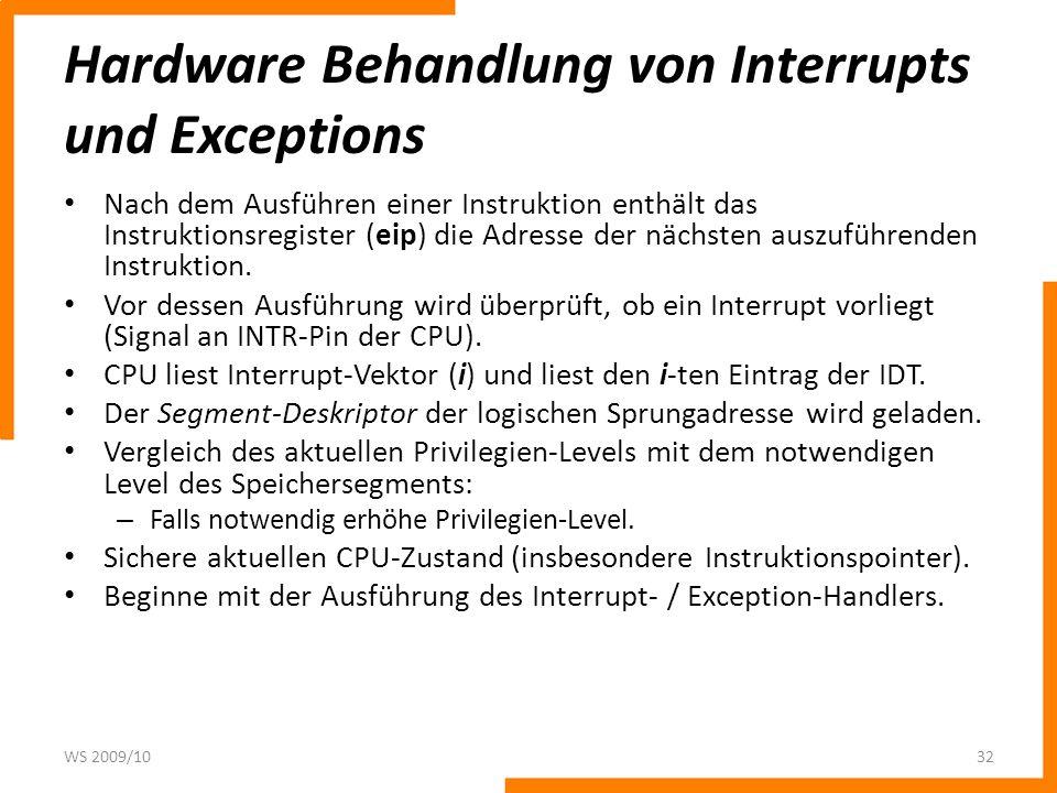 Hardware Behandlung von Interrupts und Exceptions