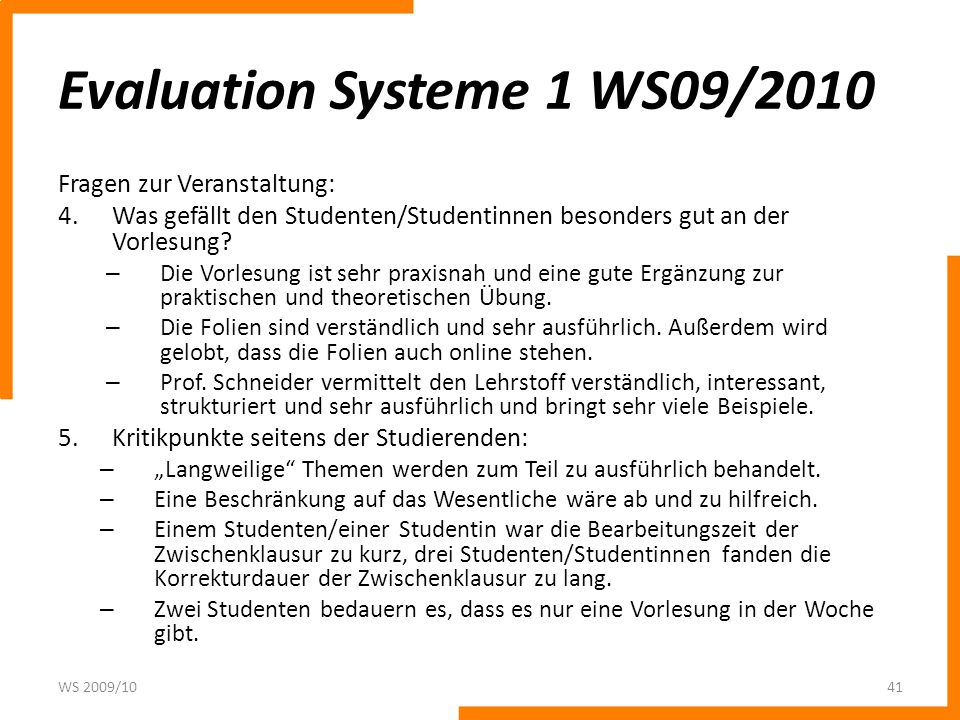 Evaluation Systeme 1 WS09/2010