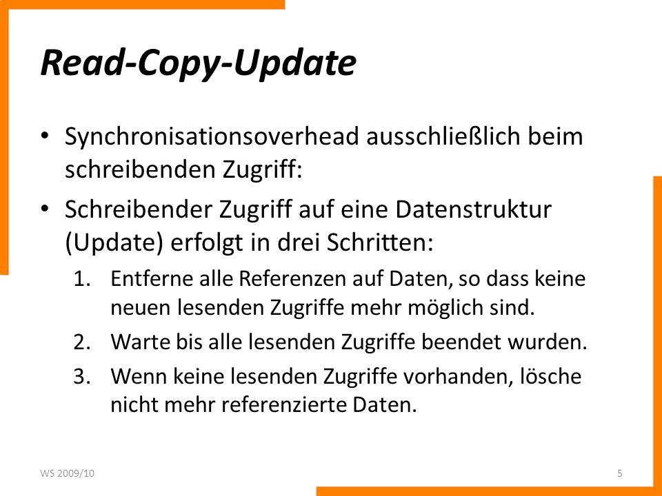 Read-Copy-UpdateSynchronisationsoverhead ausschließlich beim schreibenden Zugriff: