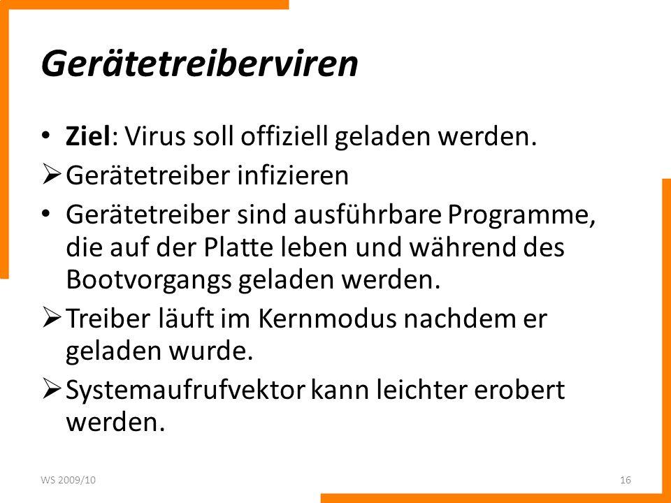 Gerätetreiberviren Ziel: Virus soll offiziell geladen werden.