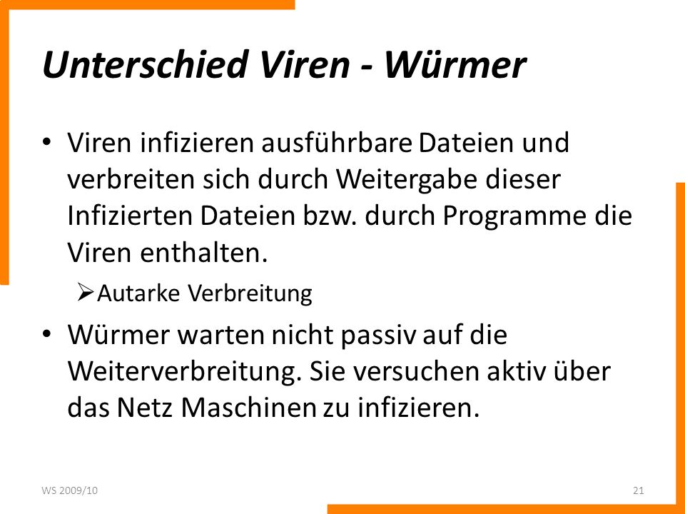 Unterschied Viren - Würmer