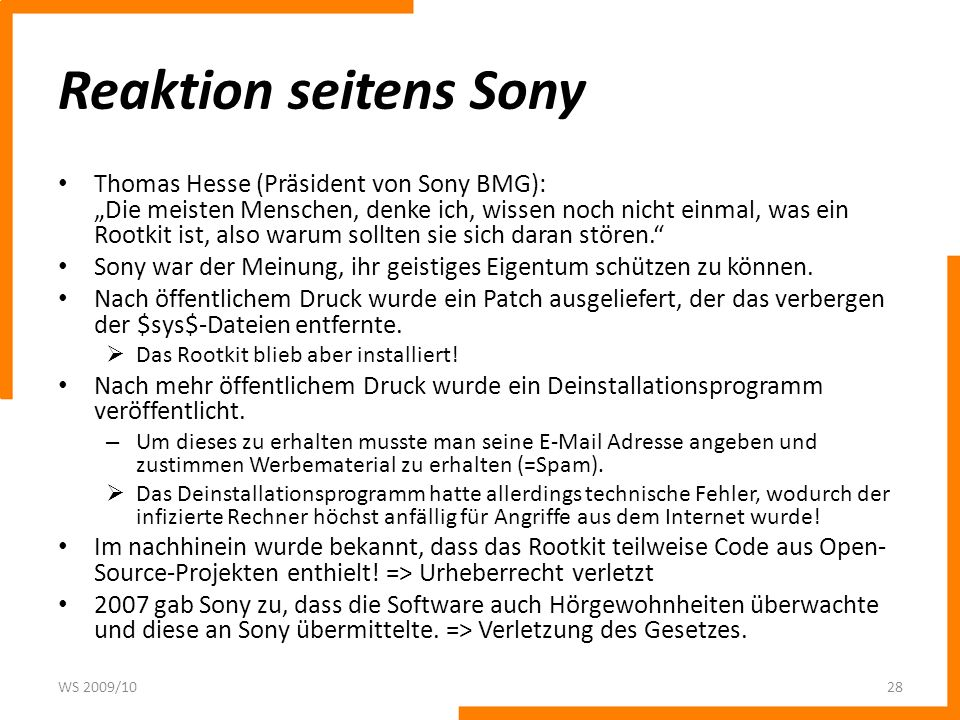 Reaktion seitens Sony