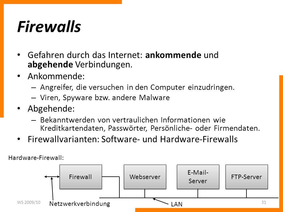Firewalls Gefahren durch das Internet: ankommende und abgehende Verbindungen. Ankommende: Angreifer, die versuchen in den Computer einzudringen.