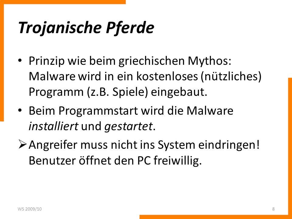 Trojanische Pferde Prinzip wie beim griechischen Mythos: Malware wird in ein kostenloses (nützliches) Programm (z.B. Spiele) eingebaut.