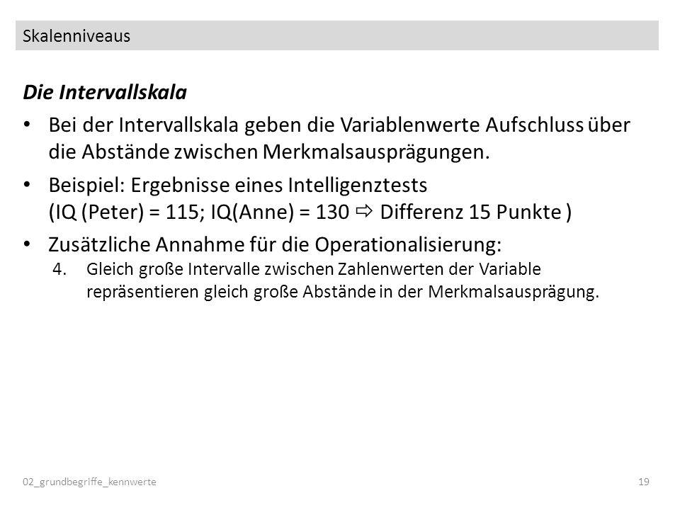 Zusätzliche Annahme für die Operationalisierung: