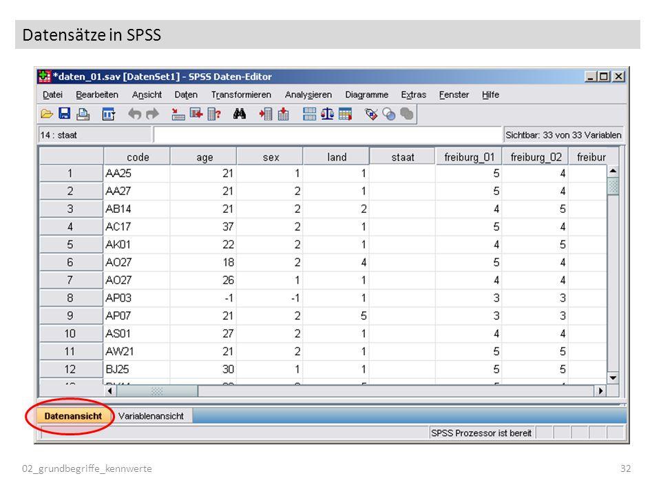 Datensätze in SPSS 02_grundbegriffe_kennwerte 32