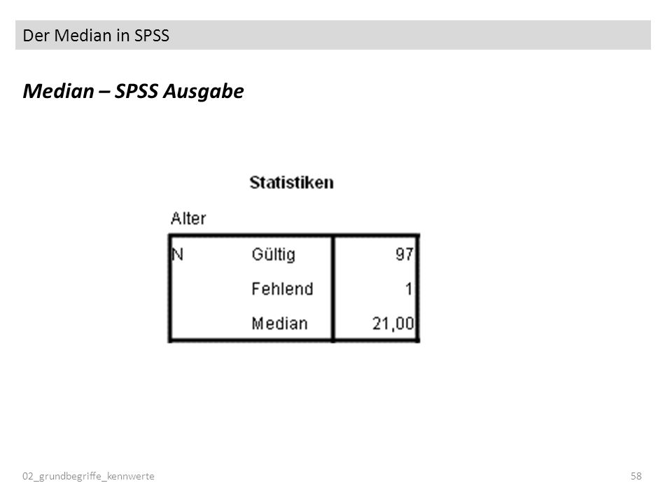 Der Median in SPSS Median – SPSS Ausgabe 02_grundbegriffe_kennwerte 58