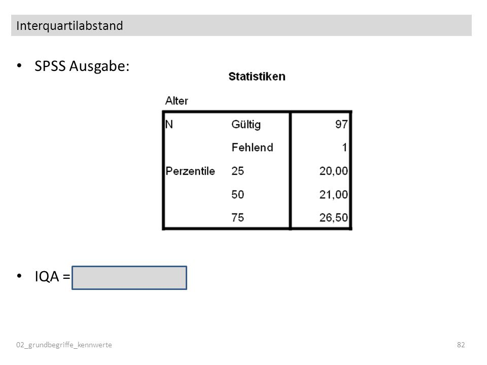 SPSS Ausgabe: IQA = 26.5 – 20.0 = 6.5 Interquartilabstand