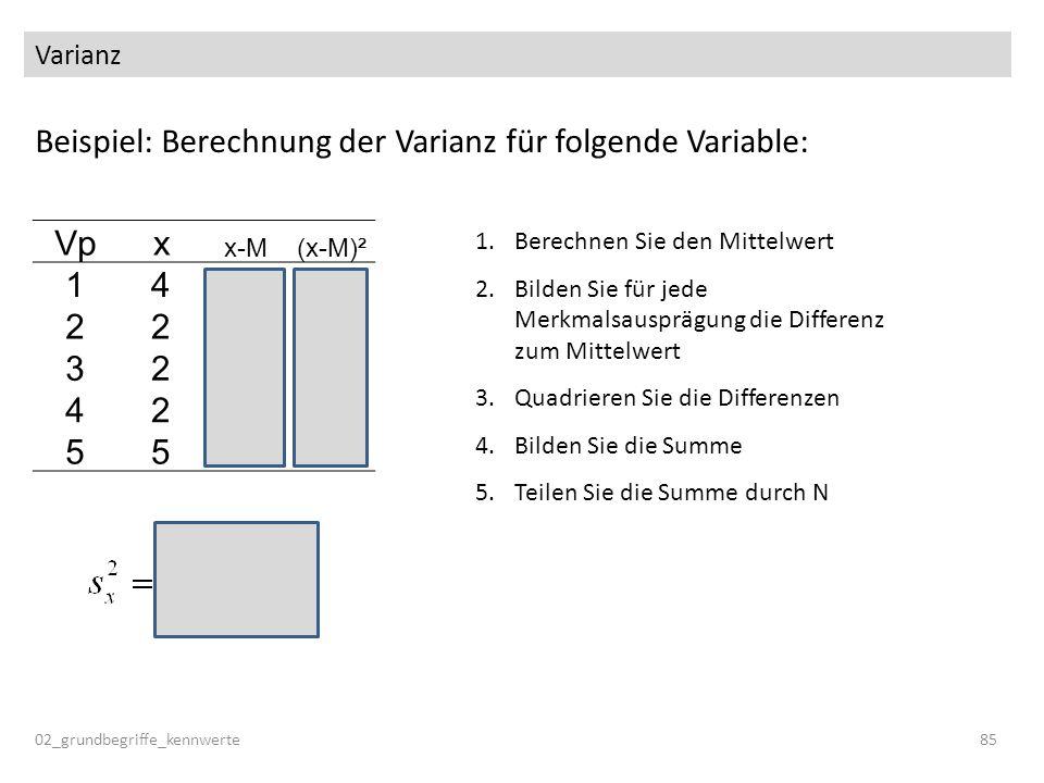 Beispiel: Berechnung der Varianz für folgende Variable: Vp x 1 4 2 3 5