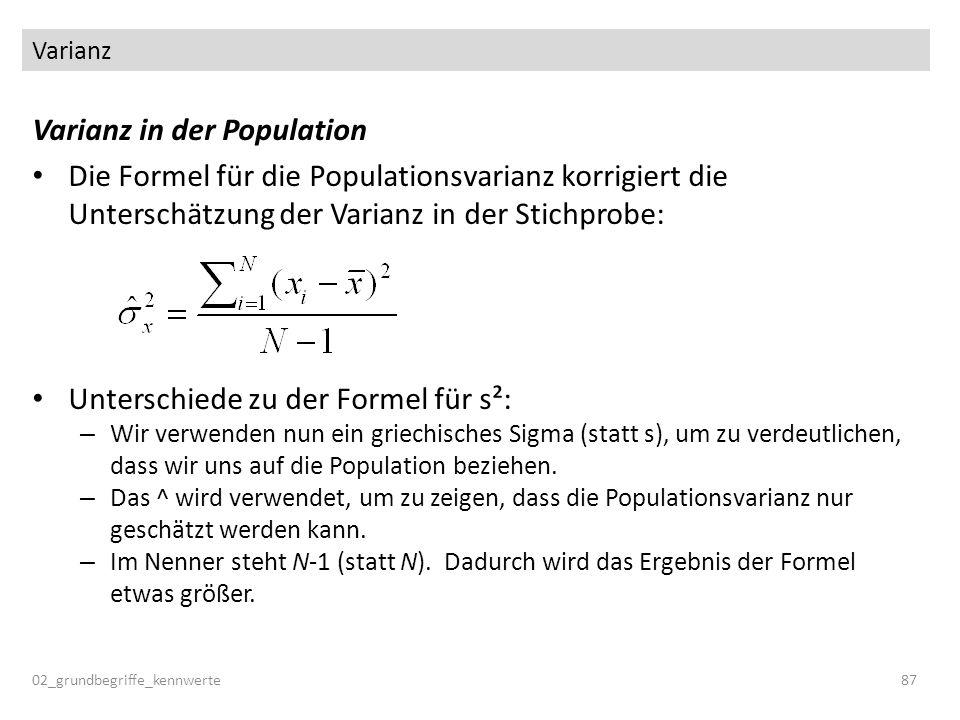 Varianz in der Population