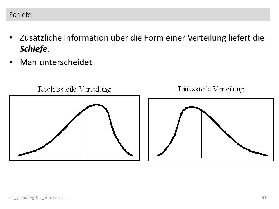 Schiefe Zusätzliche Information über die Form einer Verteilung liefert die Schiefe. Man unterscheidet.