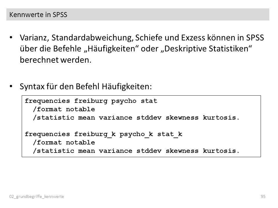 Syntax für den Befehl Häufigkeiten: