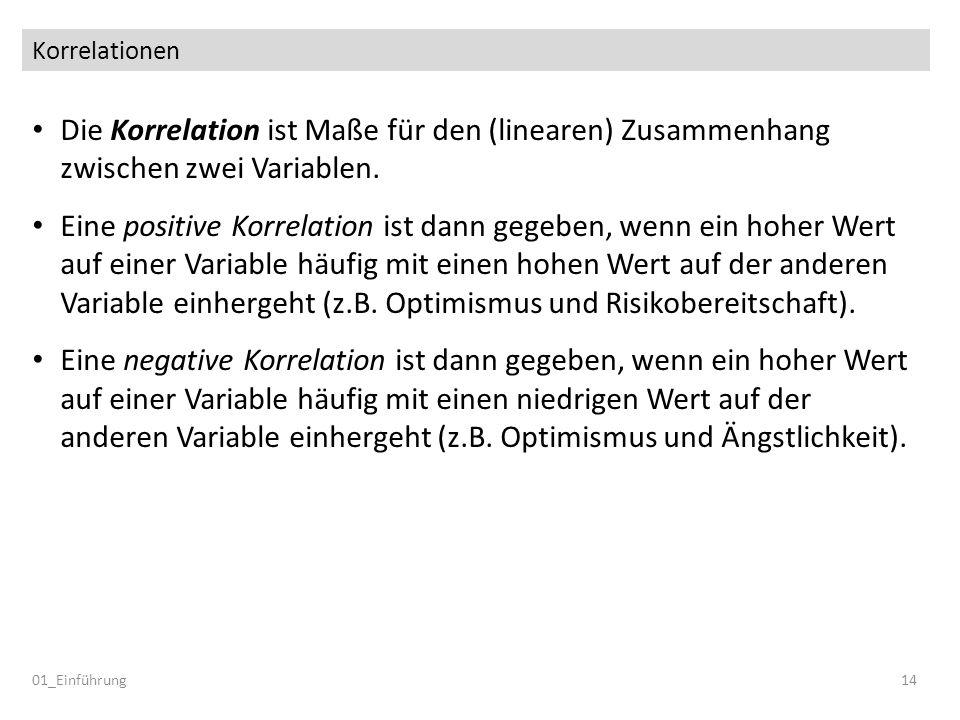 Korrelationen Die Korrelation ist Maße für den (linearen) Zusammenhang zwischen zwei Variablen.
