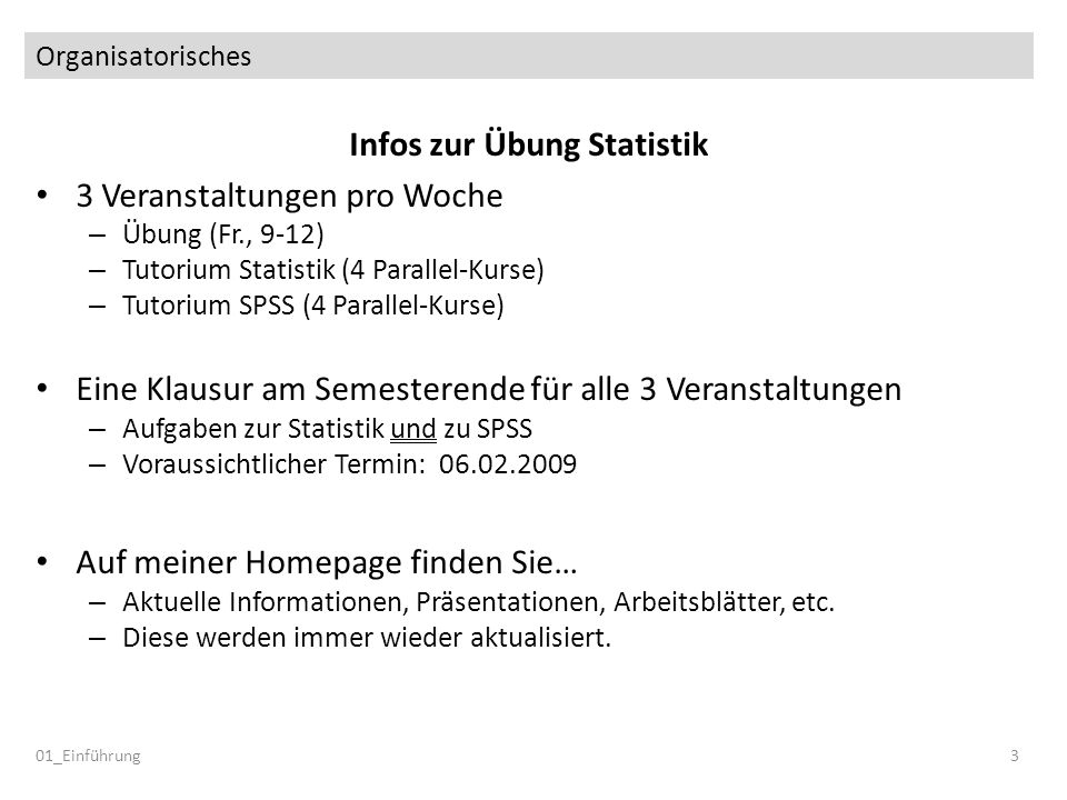 Infos zur Übung Statistik