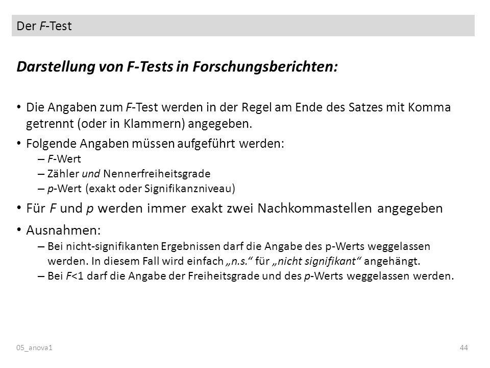 Darstellung von F-Tests in Forschungsberichten: