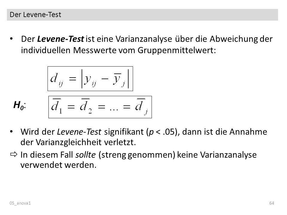 Der Levene-Test Der Levene-Test ist eine Varianzanalyse über die Abweichung der individuellen Messwerte vom Gruppenmittelwert: