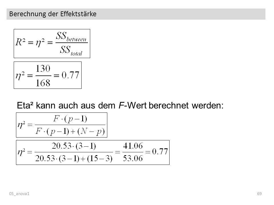 Berechnung der Effektstärke