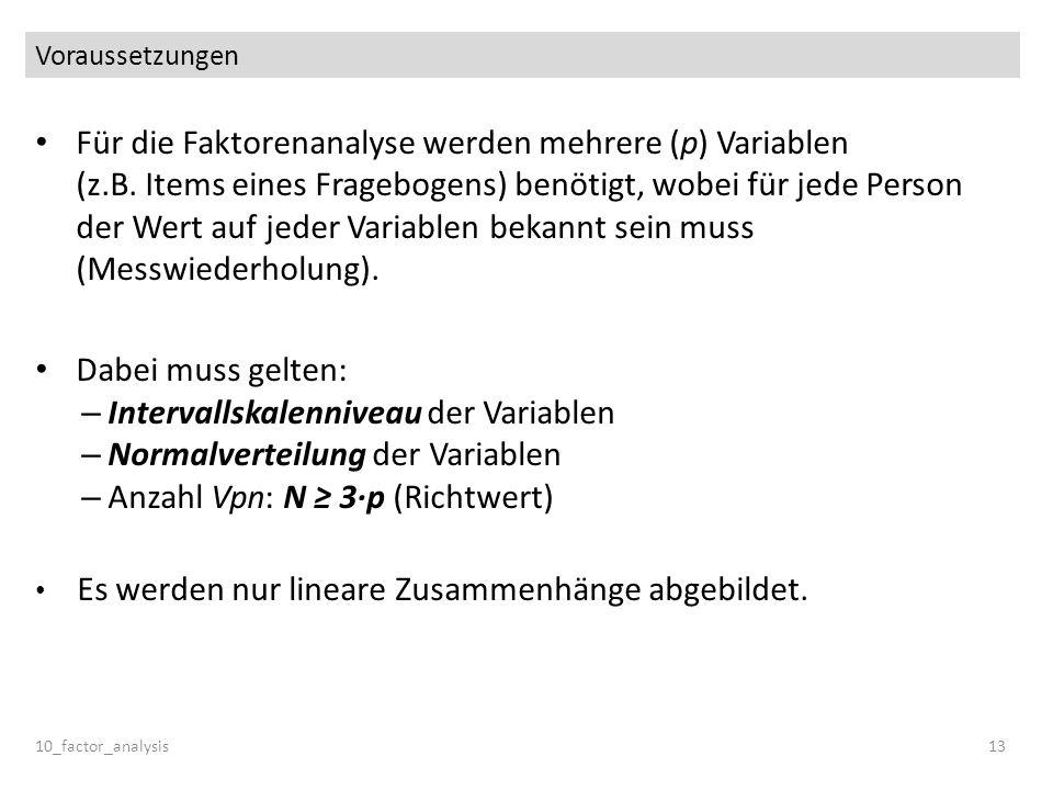 Intervallskalenniveau der Variablen Normalverteilung der Variablen