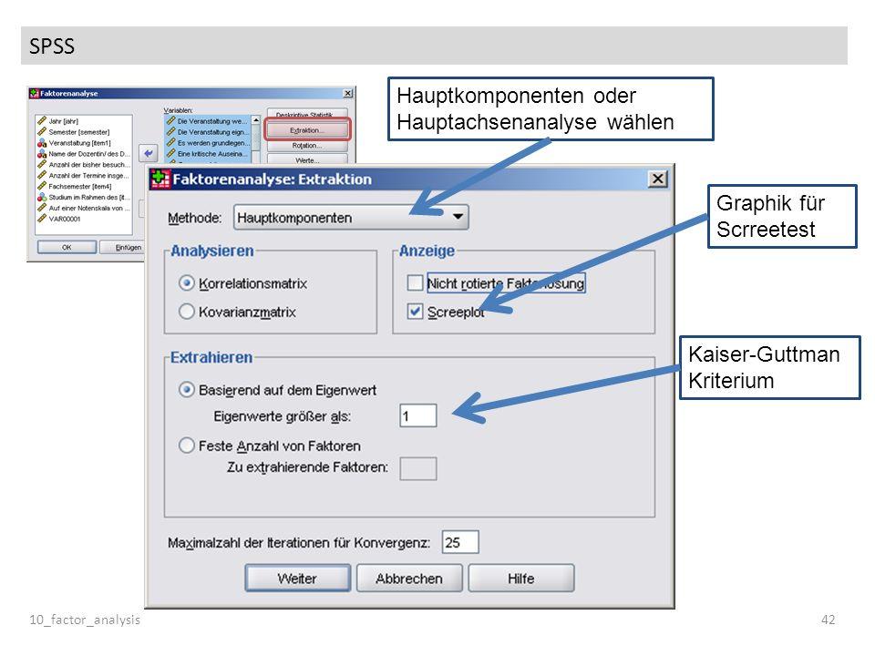 SPSS Hauptkomponenten oder Hauptachsenanalyse wählen