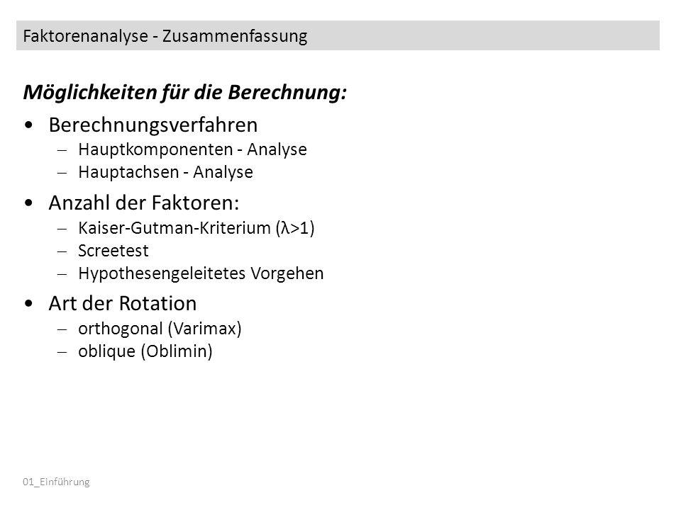 Faktorenanalyse - Zusammenfassung