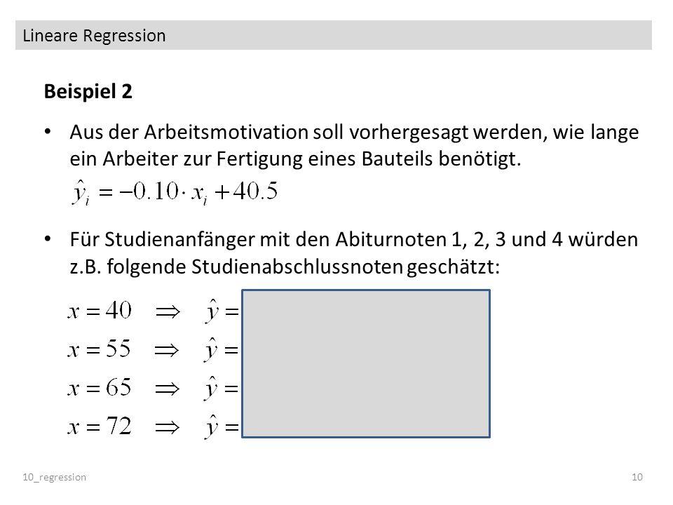Lineare Regression Beispiel 2. Aus der Arbeitsmotivation soll vorhergesagt werden, wie lange ein Arbeiter zur Fertigung eines Bauteils benötigt.