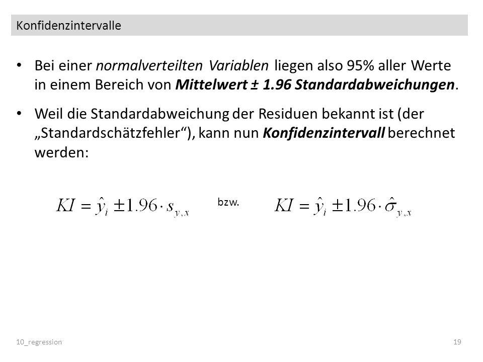Konfidenzintervalle Bei einer normalverteilten Variablen liegen also 95% aller Werte in einem Bereich von Mittelwert ± 1.96 Standardabweichungen.