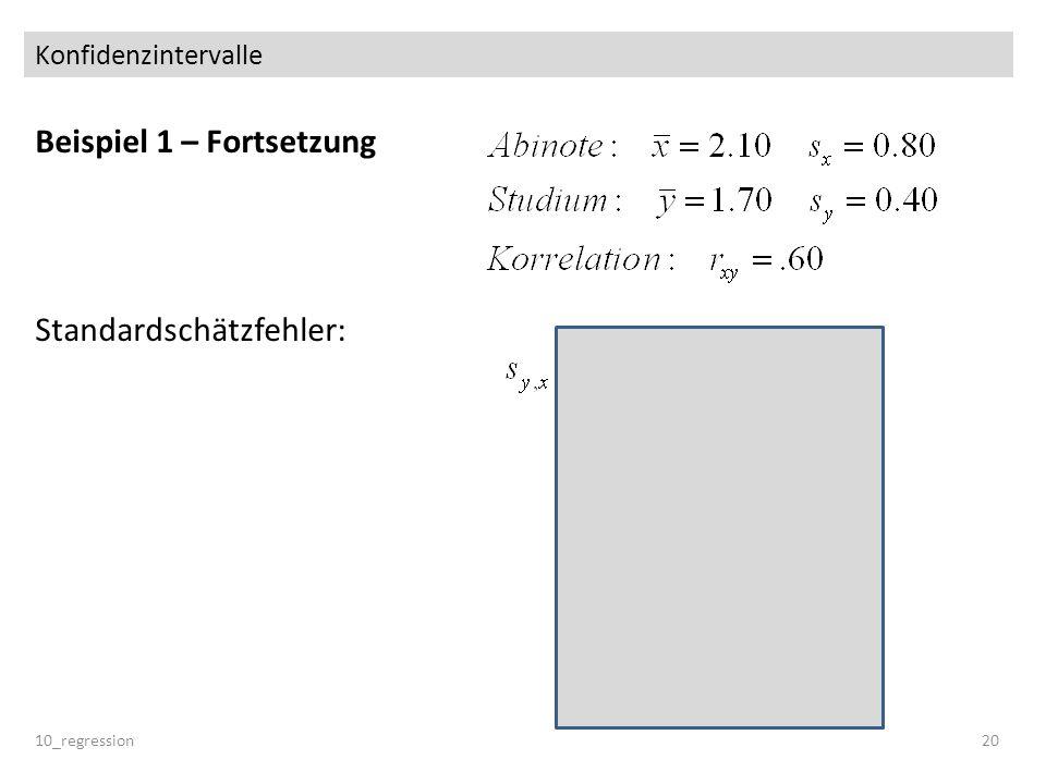 Beispiel 1 – Fortsetzung Standardschätzfehler: