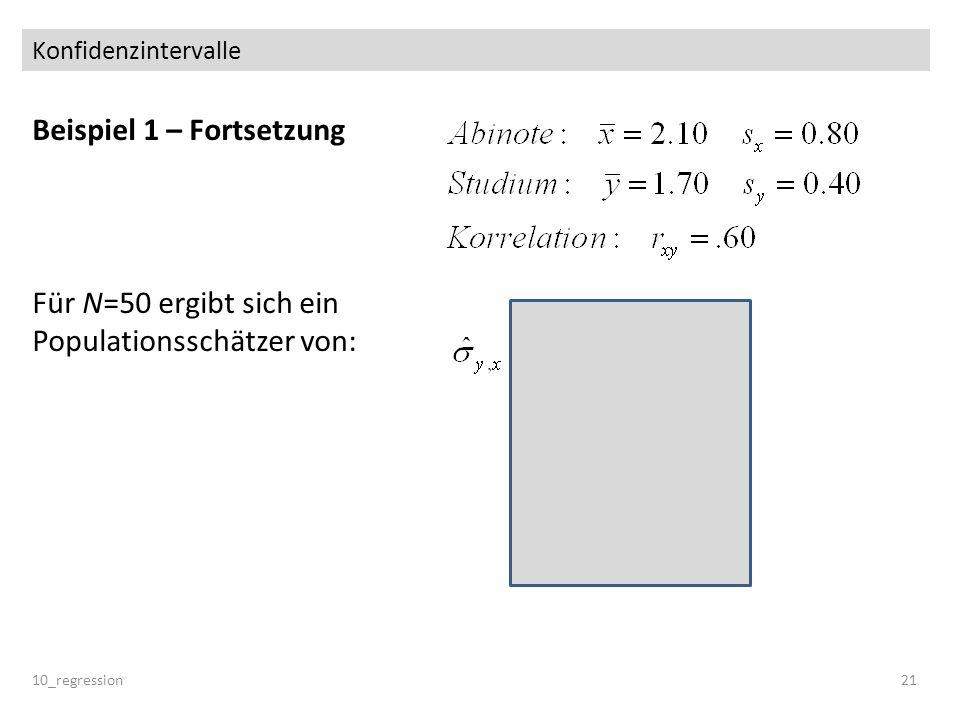 Konfidenzintervalle Beispiel 1 – Fortsetzung Für N=50 ergibt sich ein Populationsschätzer von: 10_regression 21.