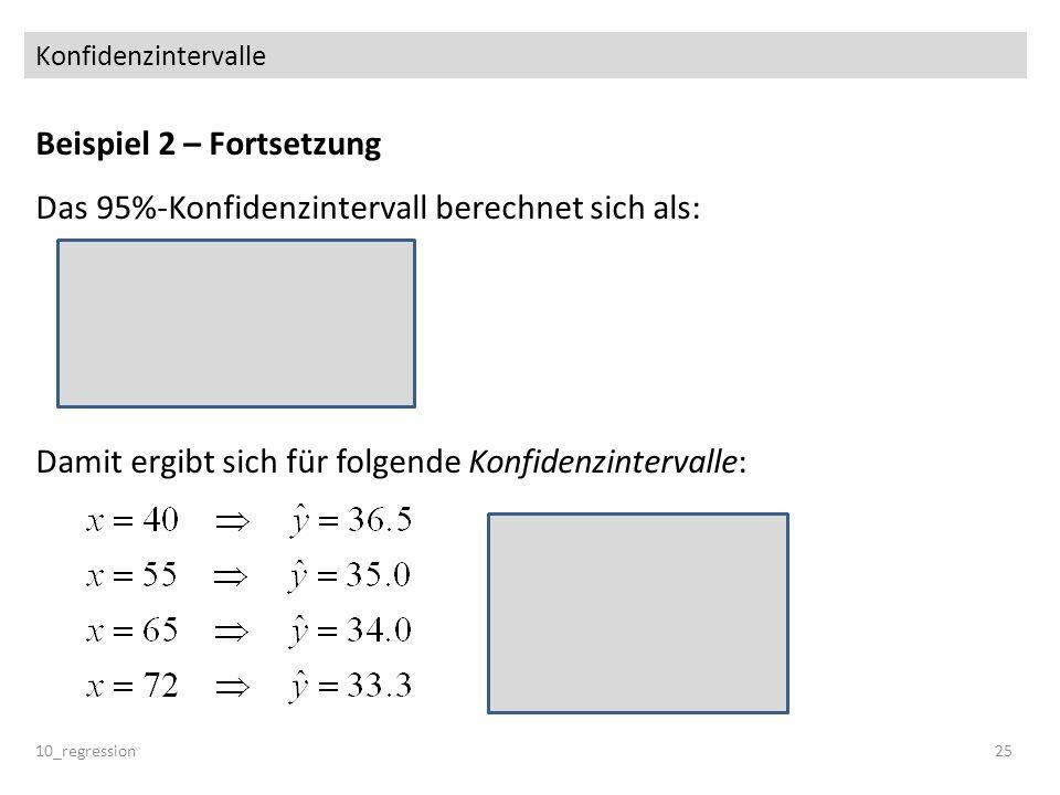 Konfidenzintervalle Beispiel 2 – Fortsetzung Das 95%-Konfidenzintervall berechnet sich als: Damit ergibt sich für folgende Konfidenzintervalle: