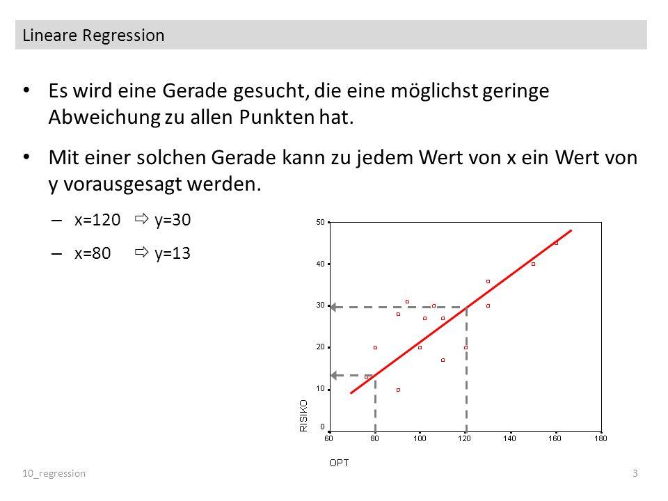 Lineare Regression Es wird eine Gerade gesucht, die eine möglichst geringe Abweichung zu allen Punkten hat.