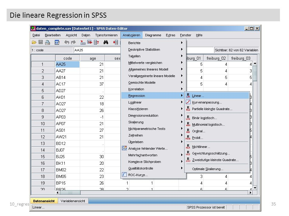 Die lineare Regression in SPSS