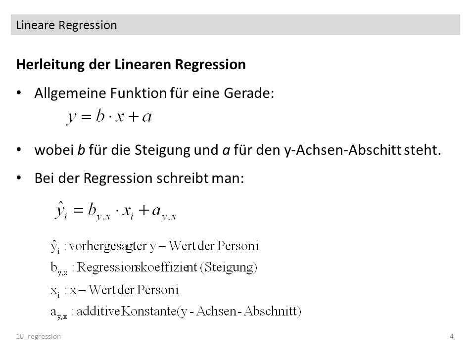 Herleitung der Linearen Regression