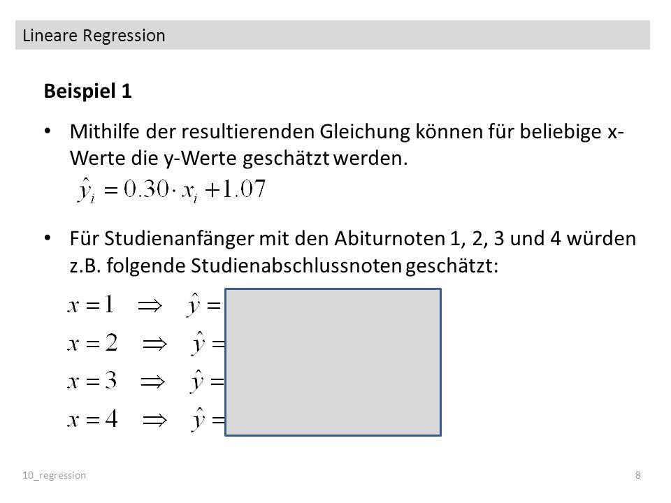 Lineare Regression Beispiel 1. Mithilfe der resultierenden Gleichung können für beliebige x-Werte die y-Werte geschätzt werden.