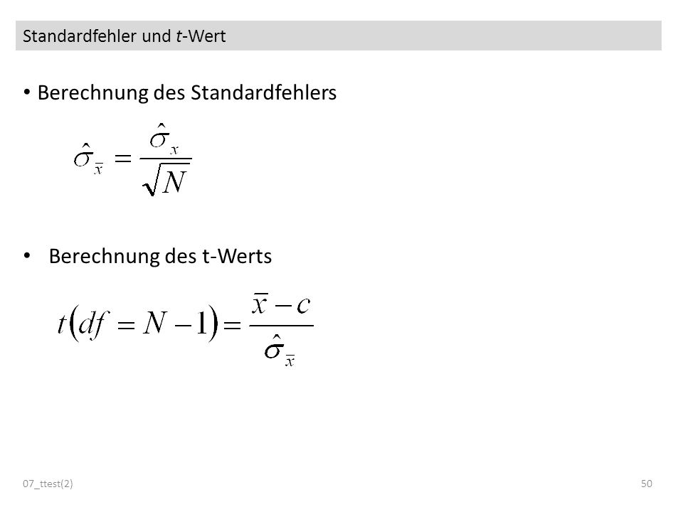Standardfehler und t-Wert