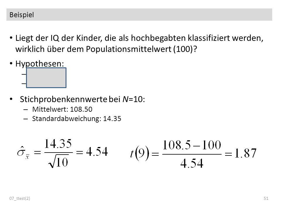 Stichprobenkennwerte bei N=10: